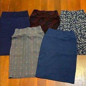 Lot of 5 Lularoe Cassie Skirts XS